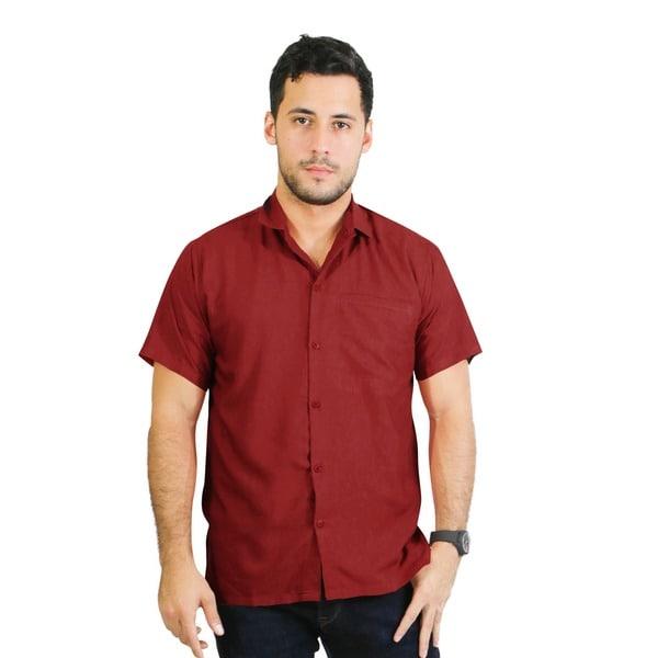 La Leela Men's Red Plain Beach Swim Casual Camp Hawaiian Shirt