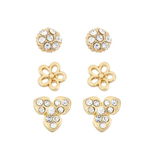 Facet Nation 14k Goldplated Crystal Flower 3-piece Earring Set