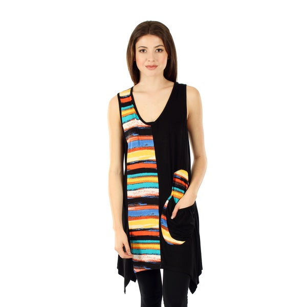 Women's Sleeveless Black/ Multi Sidetail Tunic