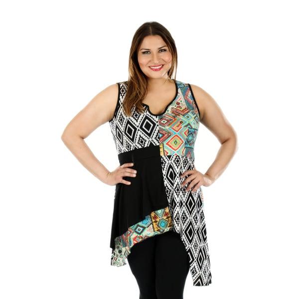 Women's Plus Size Sleeveless Black/ Multi Sidetail Tunic