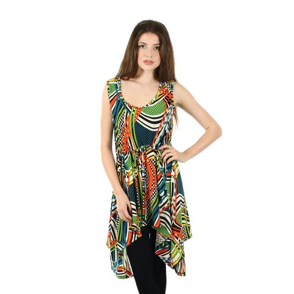 Firmiana Women's Sleeveless Multicolor Tie-waist Sidetail Tunic