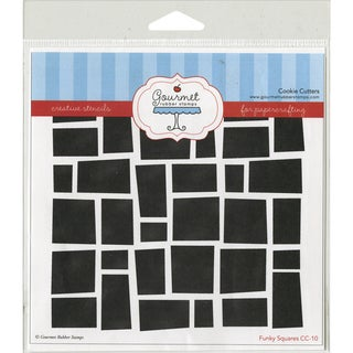 Gourmet Rubber Stamps Stencil 6inX6inFunky Squares