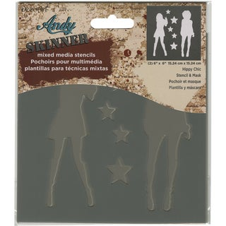 Andy Skinner Mixed Media Stencil & Mask Set 6inX6inHippy Chic
