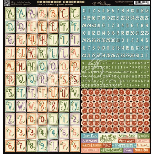 Time To Flourish Cardstock Stickers 12inX12inAlphabet