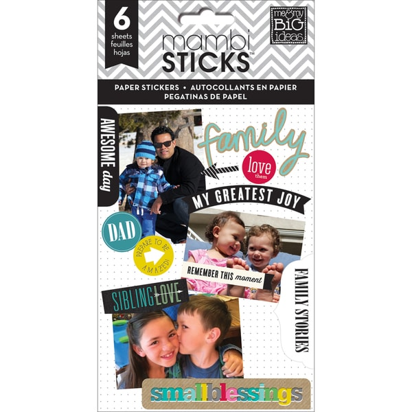 Me & My Big Ideas Pocket Pages Paper Stickers 6 Sheets/Pkg Family Love