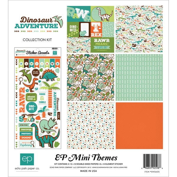 Echo Park Collection Kit 12inX12inDinosaur Adventure