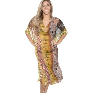 La Leela Women's V-neck Chiffon Animal Print Swim Cover-up