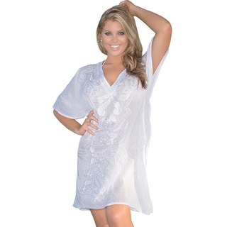 La Leela V-neck Embroidered Swim Cover-up