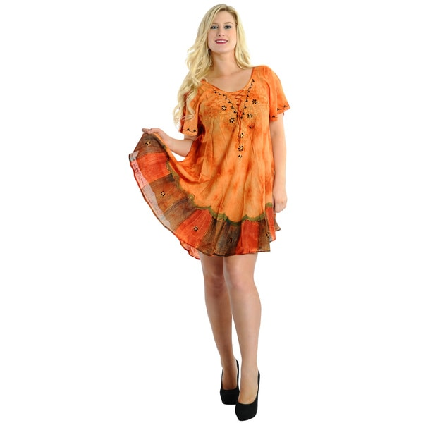 La Leela Tie-dye Orange Beach Cover-up