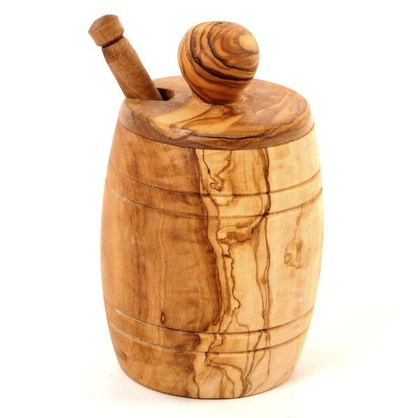 Handmade Olive Wood Honey Jar and Dipper (Tunisia)