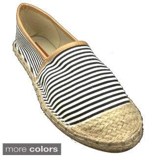 Women's Striped Espadrille Slip On Flat Shoes