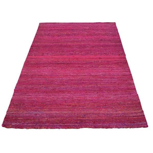 Hand-woven Sari Silk Flat Weave Pink Oriental Rug (3'7 x 5'6)