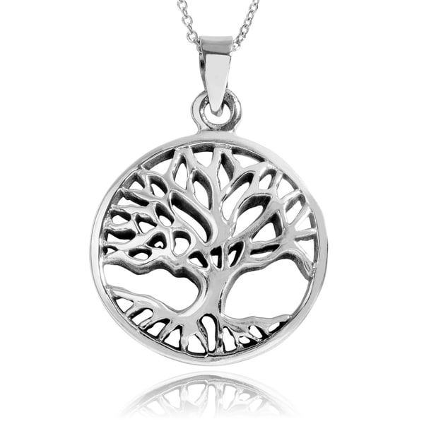 Journee Collection Sterling Silver 3D Tree of Life Pendant