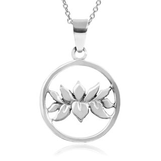 Journee Collection Sterling Silver Lotus Flower Pendant