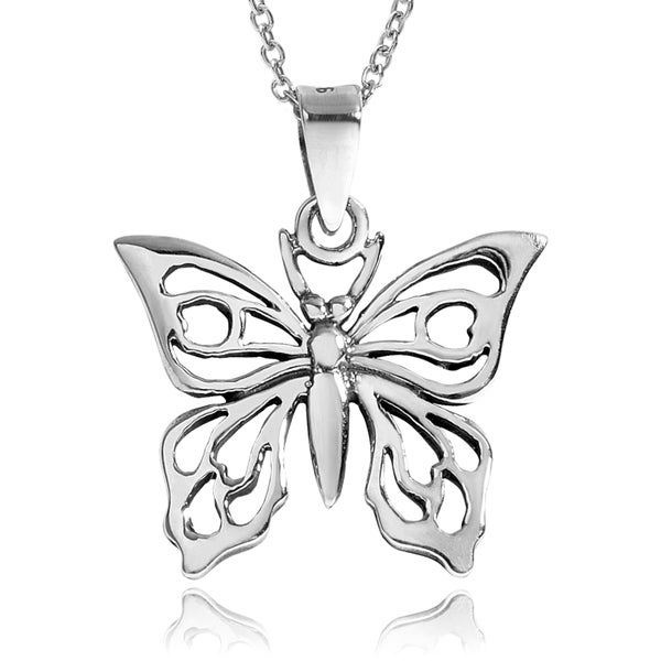 Journee Collection Sterling Silver Cut Out Butterfly Pendant