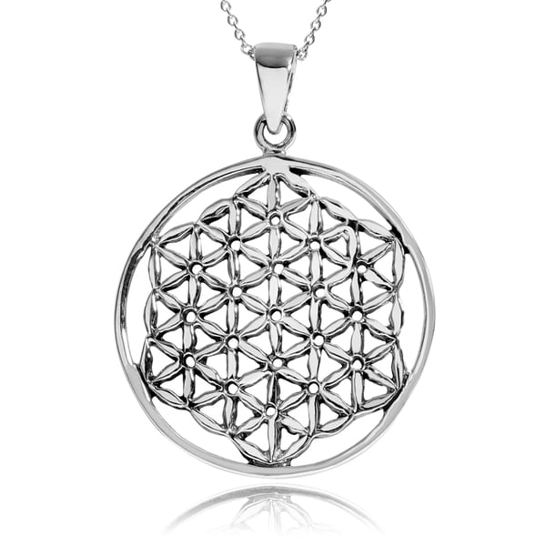 Journee Collection Sterling Silver Cut Out Flower of Life Pendant