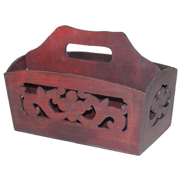 Hand-carved Antique Cherry Wood Magazine Holder 15475366