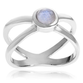 Journee Collection Sterling Silver Gemstone Split Shank Ring