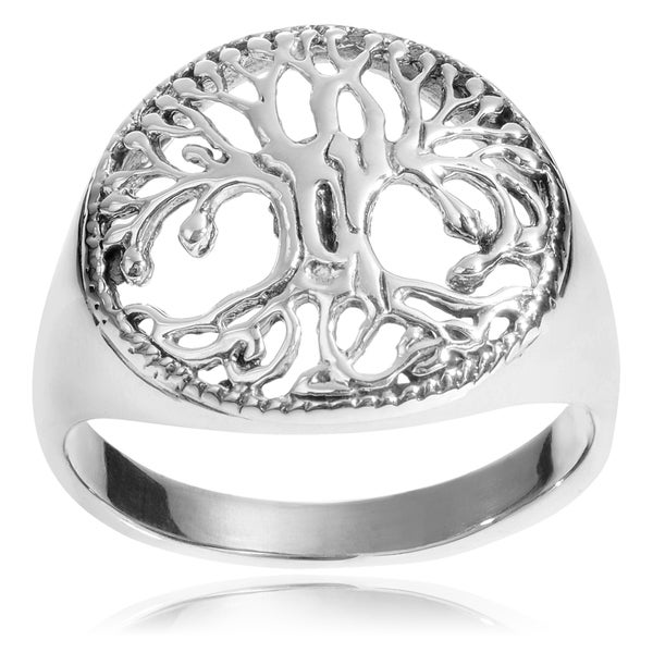 Journee Collection Sterling Silver Cut Out Tree of Life Ring