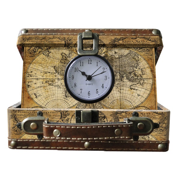 Old World Map Faux Leather Small Suitcase Clock