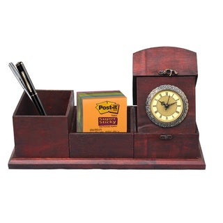 Antique Cherry Wood Style Desk Organizer