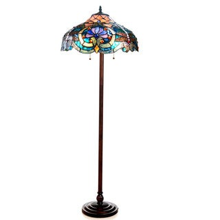 Tiffany Style Victorian/Dragonfly Design 2-light Bronze Floor Lamp
