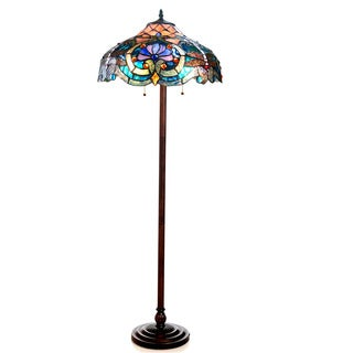 Chloe Lighting Tiffany Style Victorian/Dragonfly Design 2-light Bronze Floor Lamp