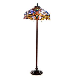 Chloe Tiffany Style Victorian/ Dragonfly Design 2-light Bronze Floor Lamp