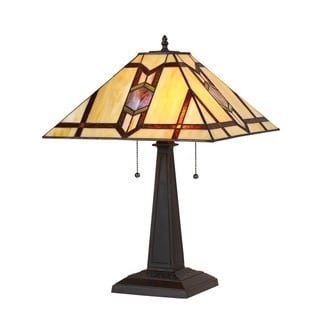 Chloe Lighting Tiffany Style Mission Design 2-light Bronze Table Lamp