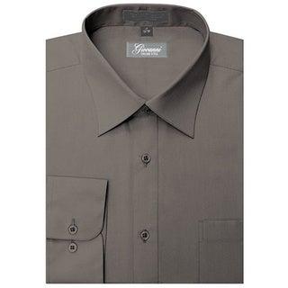 Giovanni Men's Charcoal Convertible Cuff Dress Shirt