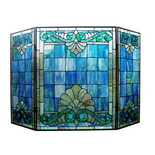 Tiffany-Style Victorian Design 3-panel Fireplace Screen