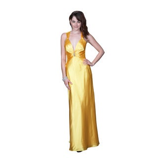 Women's Yellow Satin Gown with Open Back