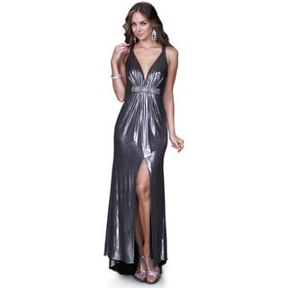 Women's Metallic Silver Gown with Beaded Brooch
