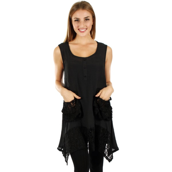 Women's Sleeveless Black Lace Top