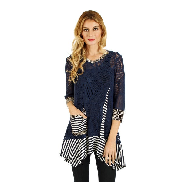 Women's 3/4 Sleeve Blue/ White Crochet Top with Stripe Sidetail