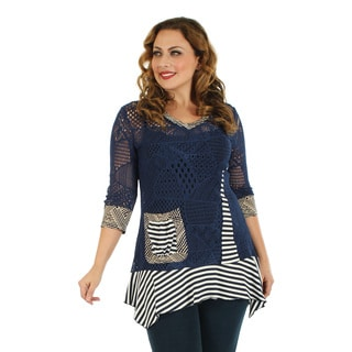 Women's Plus Size 3/4 Sleeve Blue/ White Crochet Top with Stripe and Sidetail