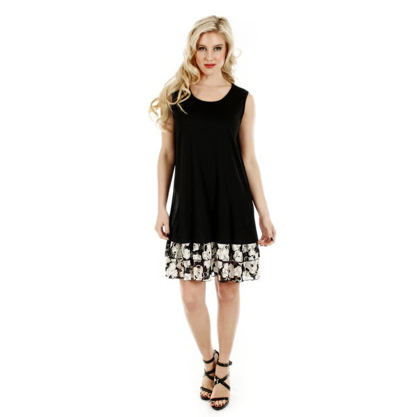 Women's Sleeveless Black / White Floral Pattern Lace Dress