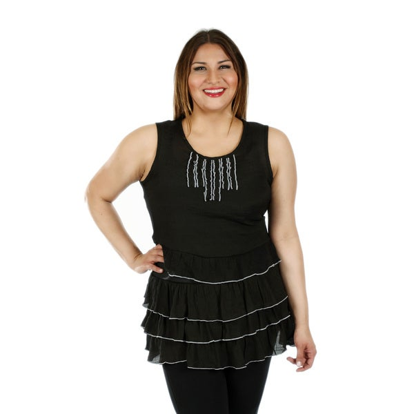 Women's Plus Size Sleeveless Black Layered Lace Top