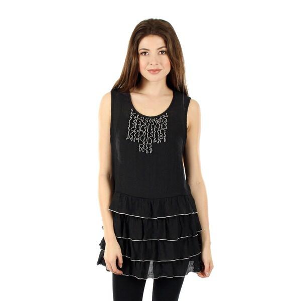Women's Sleeveless Black Layered Lace Top