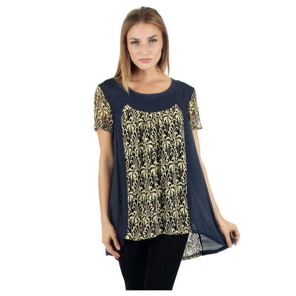 Women's Short Sleeve Blue/ Grey Lace Top