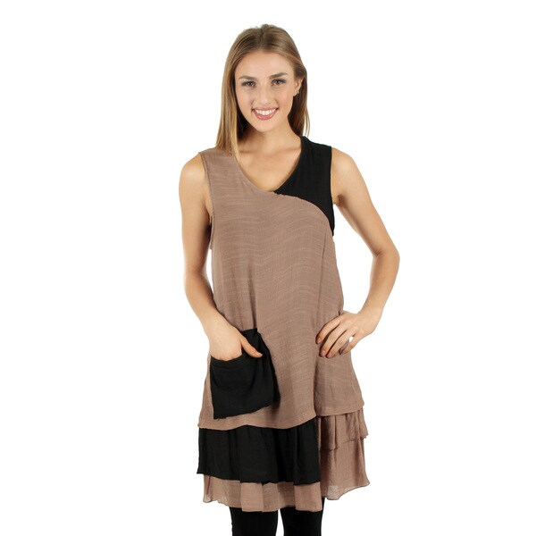 Women's Sleeveless Black and Brown Layered Ruffle Tunic