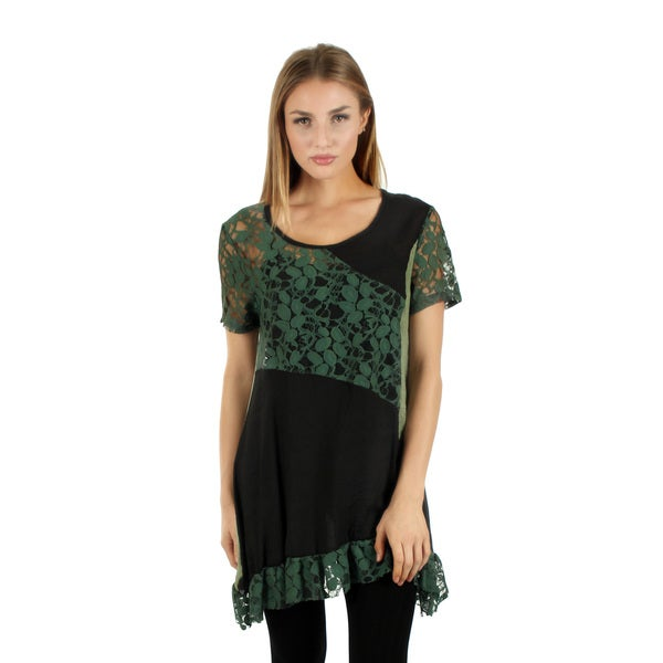 Women's Short Sleeve Green/ Black Lace Ruffle Tunic