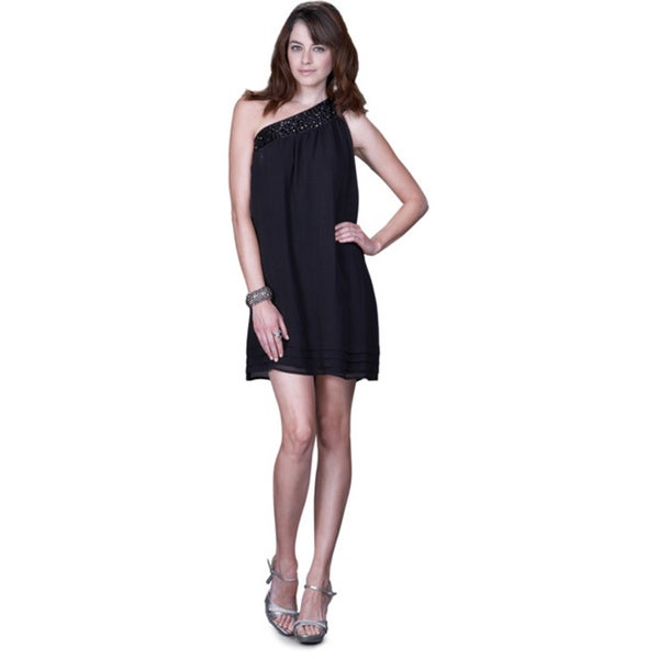Women's Black Satin One-shoulder Cocktail Dress