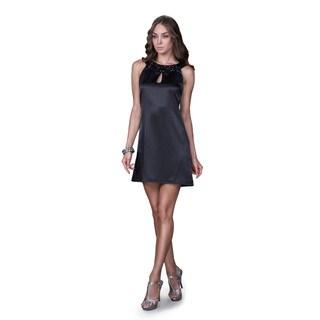 Women's Black Satin Jewel Neckline Cocktail Dress