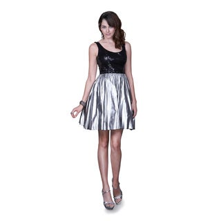 Women's Black and Silver Metallic Bubble Hem Dress