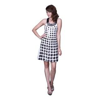 Women's Black and White Polka-dot Satin Shift Dress