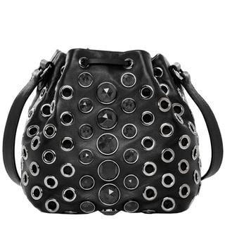 Miu Miu Leather Mini Jewel Embellished Bucket Bag