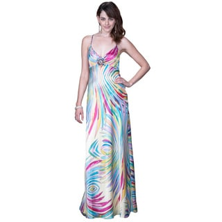 Women's Multicolor Printed Open Back Satin Gown