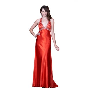 Women's Red Satin Plunging Halter Gown with Beaded Bustline
