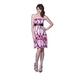 Women's Black/ Pink Abstract Printed Satin Cocktail Dress with Belt
